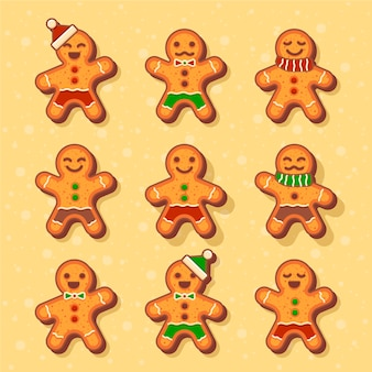Flat design gingerbream man cookie collection