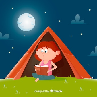 Flat design girl reading a book in a tent