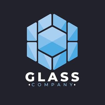 フラットデザインのガラスのロゴのテンプレート