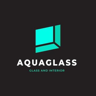Flat design glass logo template