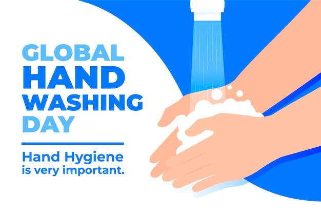 Flat design global handwashing day with hands and tap