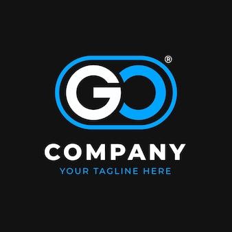 Плоский дизайн шаблона логотипа go