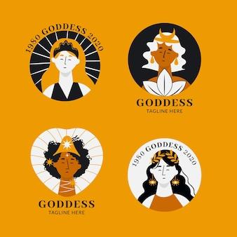 Коллекция логотипов богини в плоском дизайне