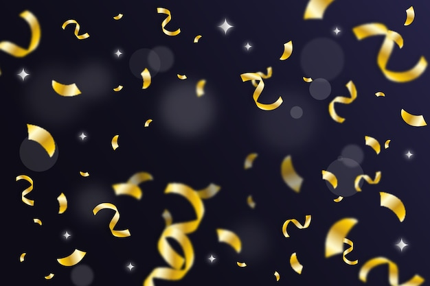 Flat design golden confetti background