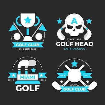 フラットデザインのゴルフロゴコレクション
