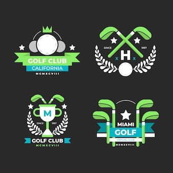 Flat design golf logo collection