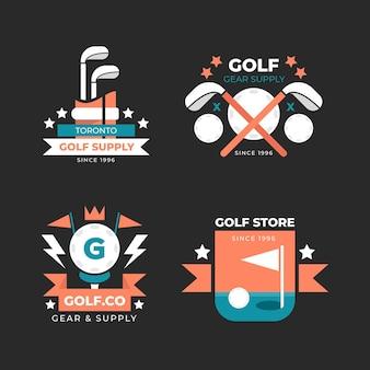 Коллекция логотипов для гольфа в плоском дизайне