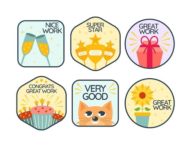 평면 디자인 좋은 직업과 훌륭한 직업 스티커 팩