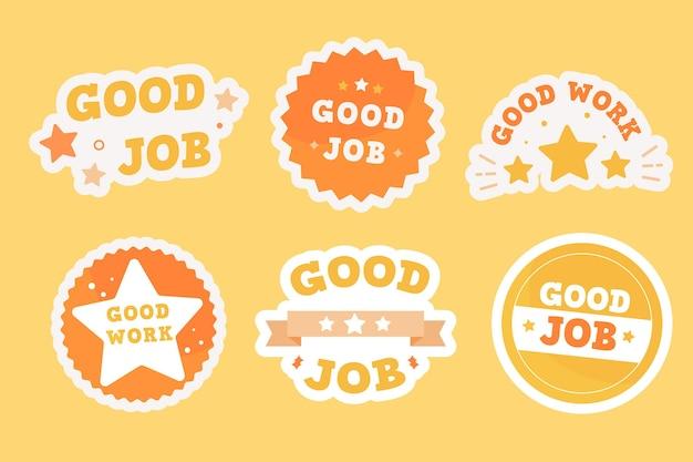 Flat design good job and great job sticker collection