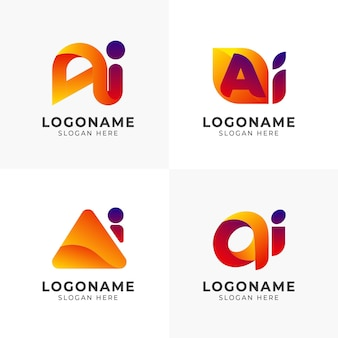 Flat design gradient ai logo template pack
