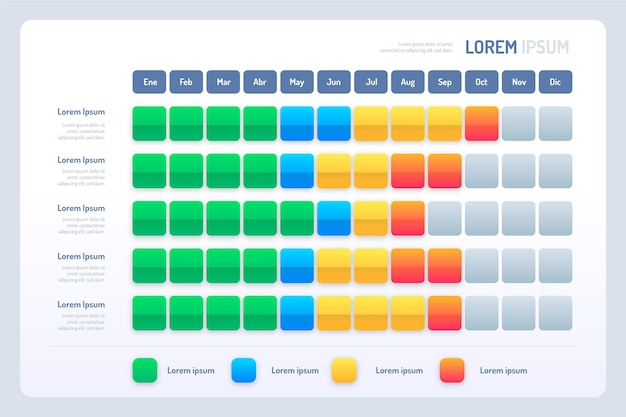 Flat design of gradient gantt chart