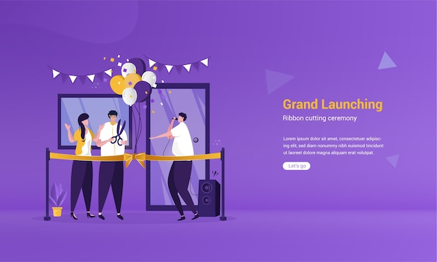 Flat design of grand launching ceremony with ribbon cutting illustration concept