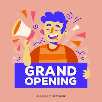 Flat design grand opening with person holding sign