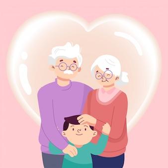 Flat design grandparents national day  illustration