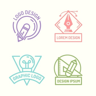 Flat design graphic designer logo collection