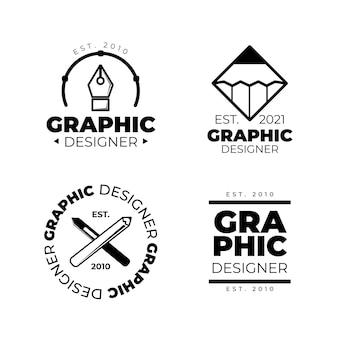 평면 디자인 그래픽 디자이너 로고 컬렉션