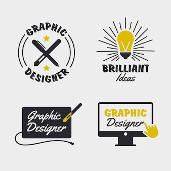 Flat design graphic designer logo pack