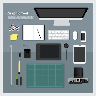Flat design graphic designer workplace concept