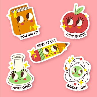 Flat design great job stickers collection