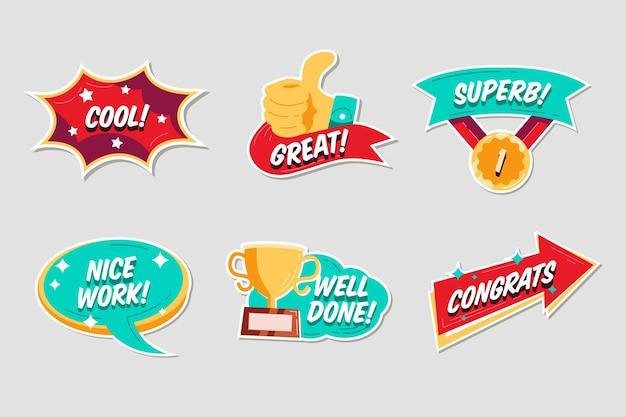 Flat design great job stickers pack