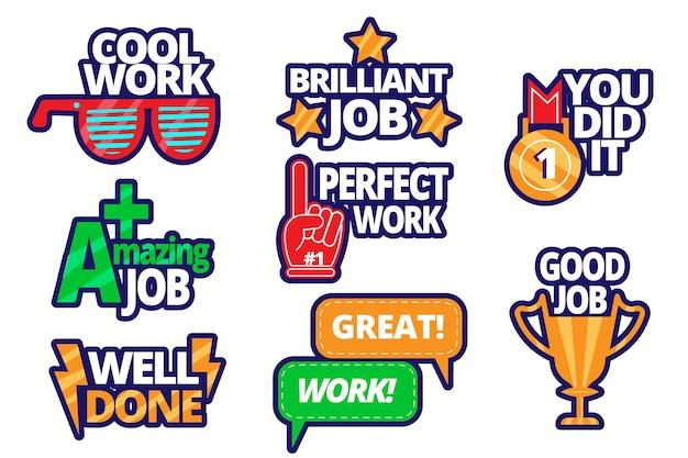 Flat design great job stickers set
