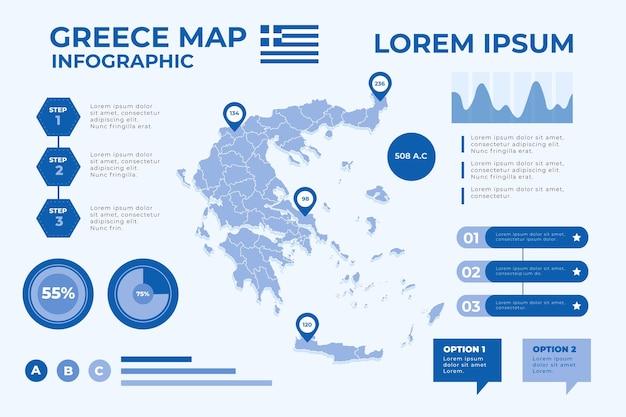 Flat design grece map infographic