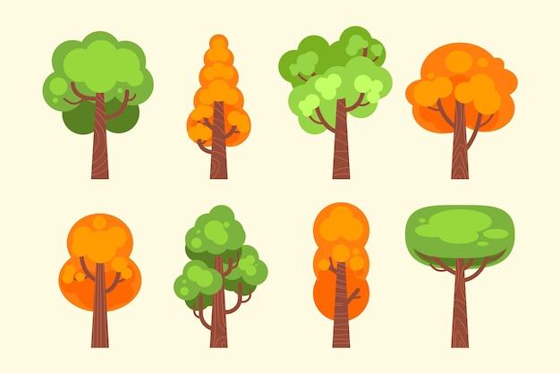 フラットデザインの緑とオレンジの木のコレクション