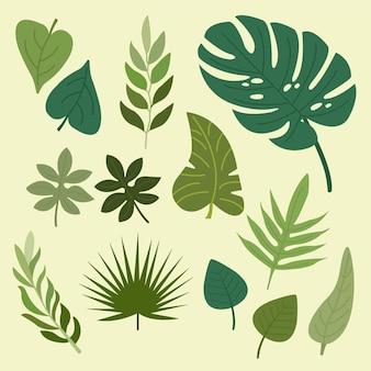 Flat design green leaves