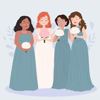 Flat design group of bridesmaids with bride