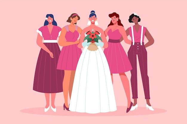 Gruppo di design piatto di damigelle d'onore con la sposa