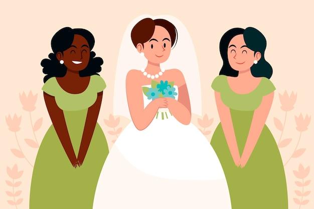 신부와 신부 들러리의 평면 디자인 그룹