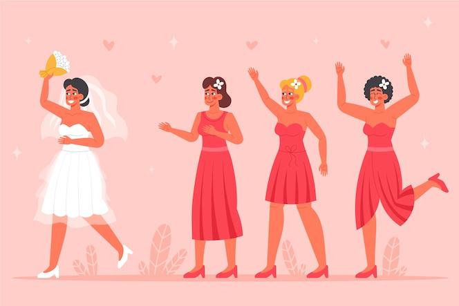 плоский дизайн группы подружек невесты с невестой