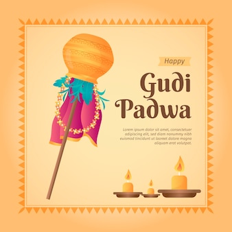 Flat design gudi padwa celebration