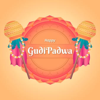Плоский дизайн концепции gudi padwa