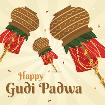 Flat design gudi padwa day theme