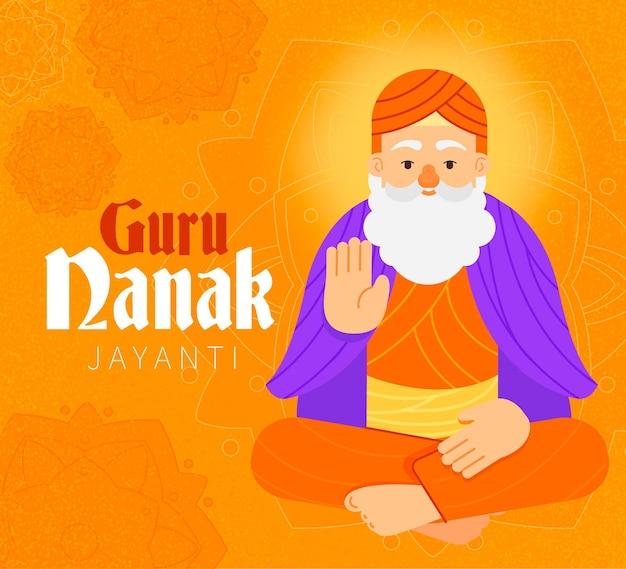 Flat design guru nanak jayanti character