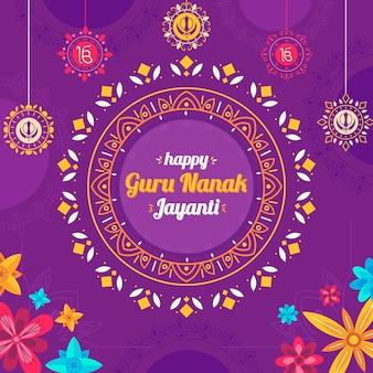 Flat design guru nanak jayanti with flowers