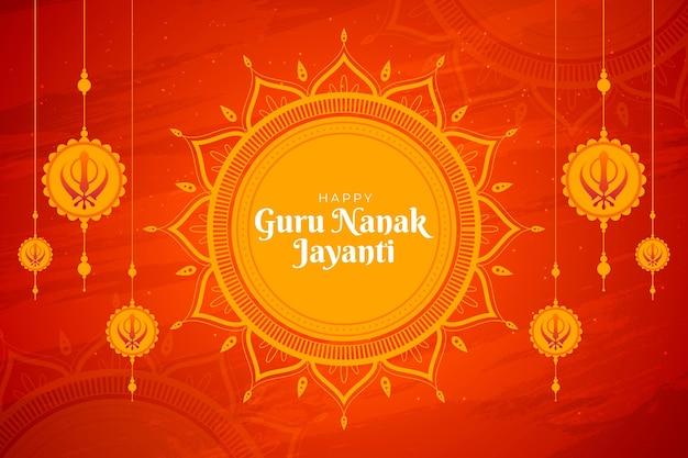 Flat design guru nanak jayanti