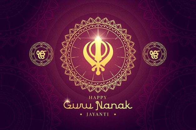 Flat design guru nanak traditional decoration