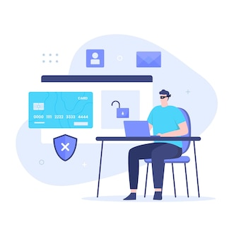 Flat design of hacker steal credit card. illustration for websites, landing pages, mobile applications, posters and banners