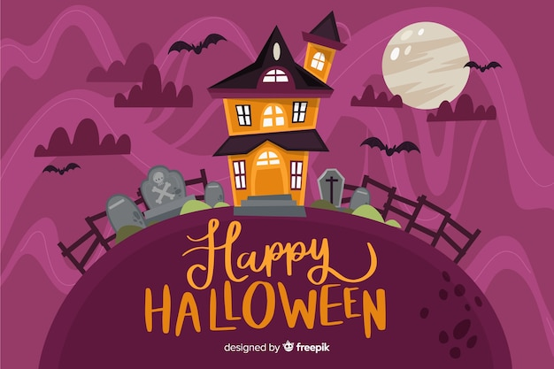 Flat design of halloween background on flat design