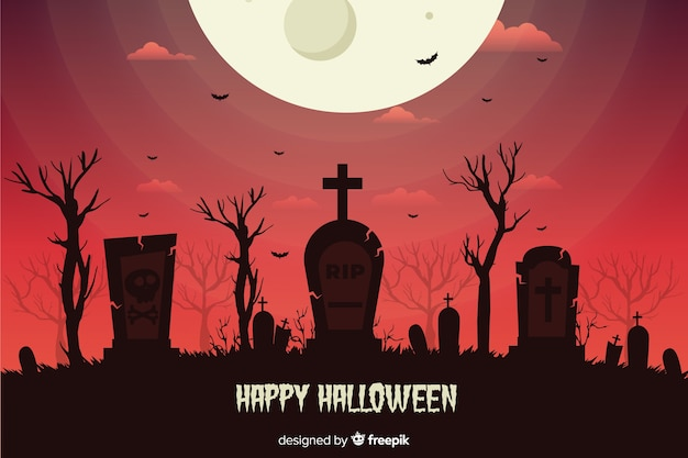 Flat design halloween background with cemetery