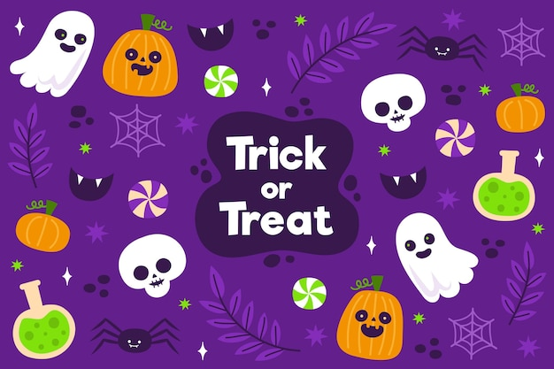 Flat design halloween background with ghosts