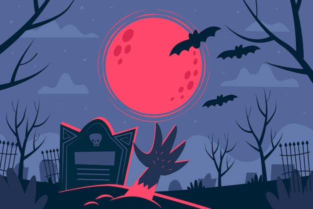 Flat design halloween background with grave