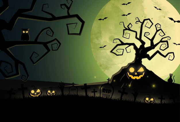 Flat design halloween background with graveyard and house.