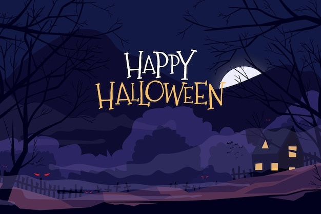 Плоский дизайн хэллоуин фон с пейзажем