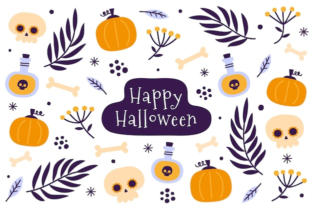Flat design halloween background with pumpkins