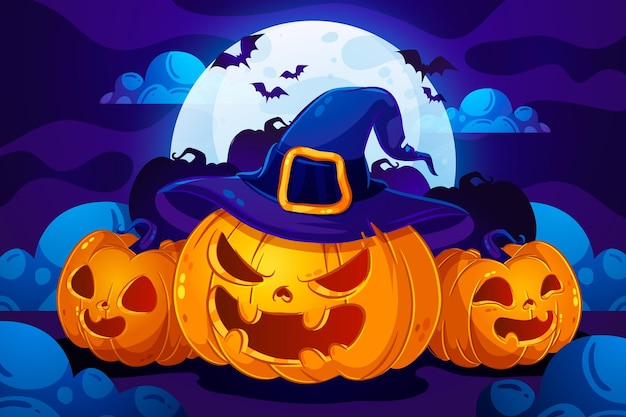 Плоский дизайн хэллоуин фон с тыквами