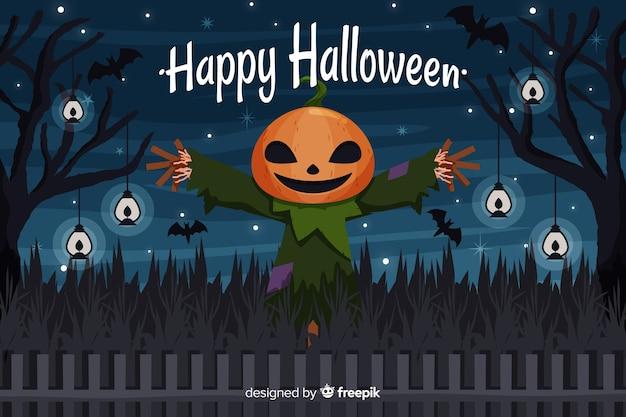 Плоский дизайн хэллоуин фон с пугало