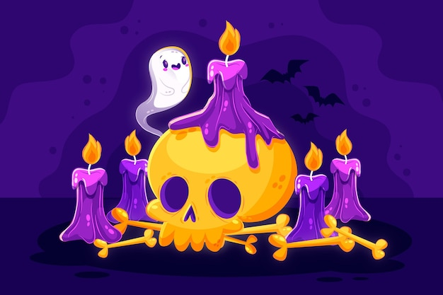 Flat design halloween background with skull and candles
